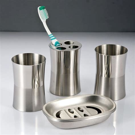 Bathroom Accessories Stainless Steel Stainless Steel Bathroom Sets Toothbrush Holder Gargle Cup Soap Box Fashion Bath Room Stainless
