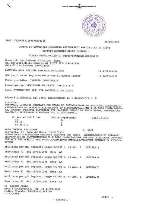 certificato di iscrizione alla di commercio certificato cciaa della securvera di orsini carlo ifa
