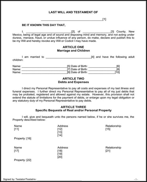 will new mexico receipt template new mexico last will and testament form for free