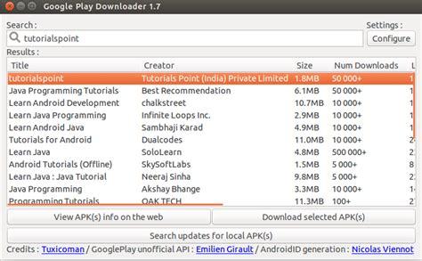 tutorialspoint ubuntu como baixar arquivos apk do google play store no linux