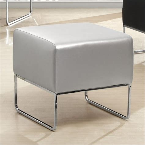 silver leather ottoman zuo plush faux leather ottoman in silver 103008