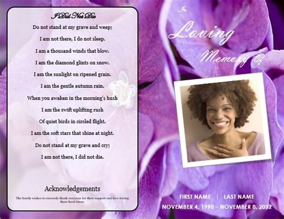 printable funeral bulletins floral theme bi fold program