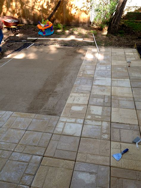 Concrete Patio With Pavers Install Pavers Concrete Patio Images