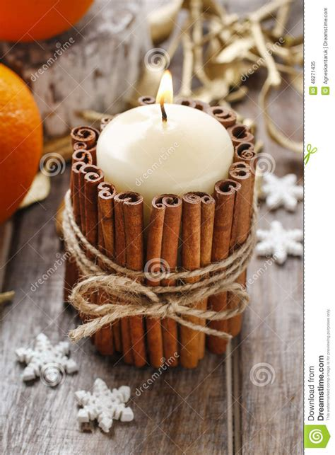 Cinnamon Sticks For Decoration by Candle Decorated With Cinnamon Sticks