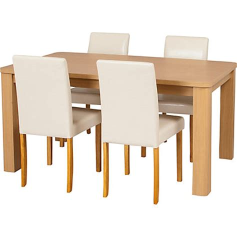 Homebase Dining Table Swanley Oak Dining Table 4 Leather Effect Chairs At Homebase Be Inspired And Make