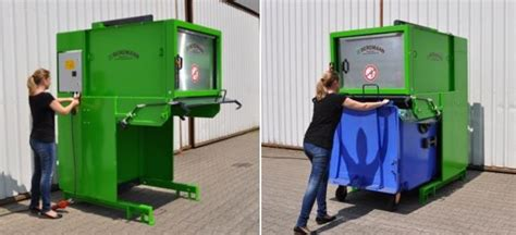 how does a commercial trash compactor work wheelie bin compactor waste compactor bergmann direct