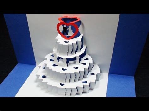 birthday cake kirigami pop up card template how to make a wedding cake pop up card kirigami 3d wedding