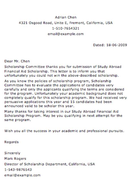Rejection Letter Usc Sle Application Letter For Scholarship Grant