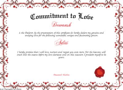 commitment to love certificate created with