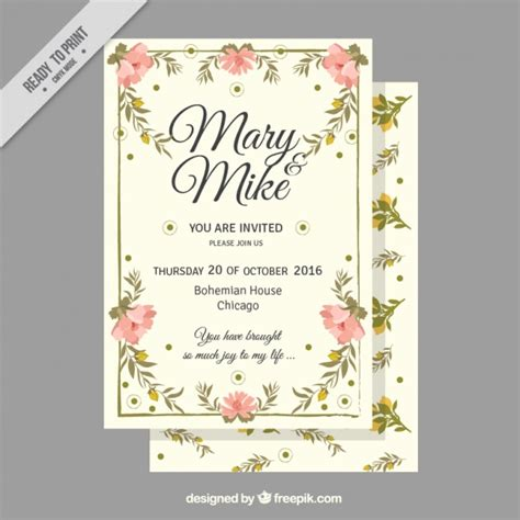 Wedding Card Vintage Vector by Wedding Card With Flowers In Vintage Style Vector Free