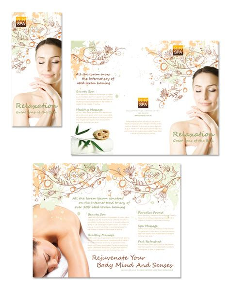 health beauty spa tri fold brochure template dlayouts