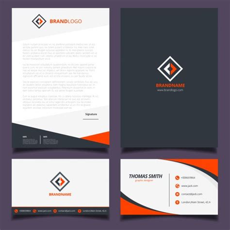 corporate layout free vector orange and black corporate identity design vector free