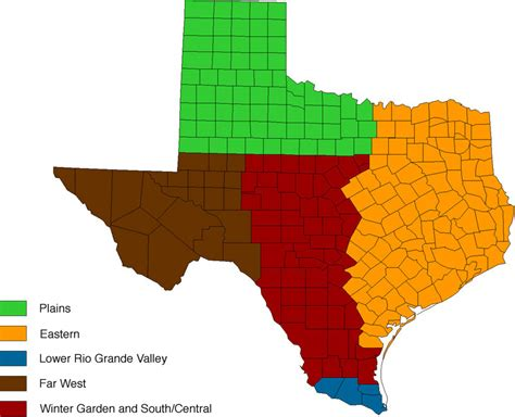 texas map with regions regions of texas map