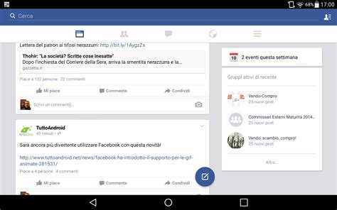 layout android facebook facebook per android ora con un nuovo layout per tablet