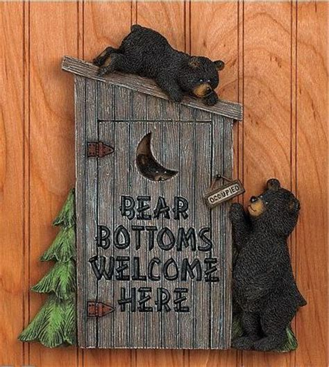 bear themed home decor black bear bathroom outhouse wall plaque cabin lodge pine