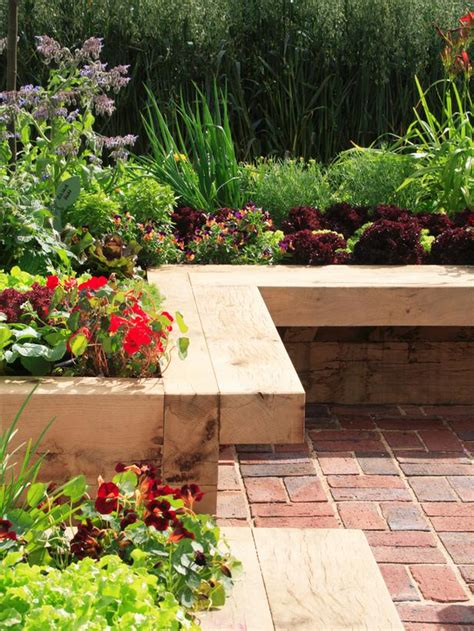 raised garden bed with bench seating rai flower beds benches kneeling benches tops great idea