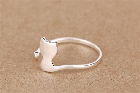 2016 new arrival jewelry silver plated open cat ring