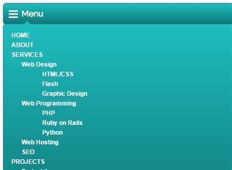 responsive design menu drop down responsive multi level dropdown menu with jquery and css3