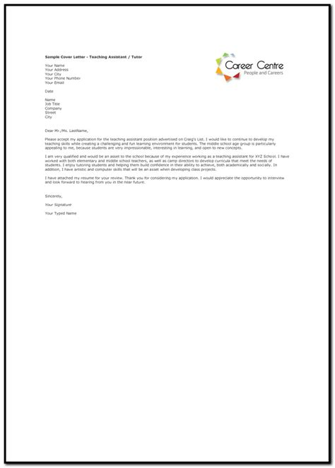 cover letter teaching assistant sle cover letter for teaching assistant cover