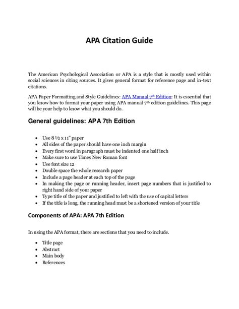 reference section apa format complete guide to apa format exle to remember