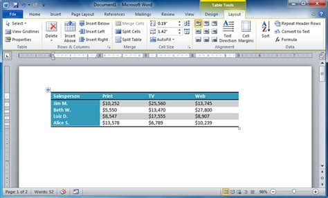 word layout tab word 2010 working with tables