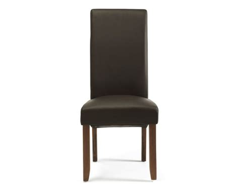 Brown Faux Leather Dining Chairs Cascade Brown Faux Leather And Walnut Dining Chairs Frances Hunt