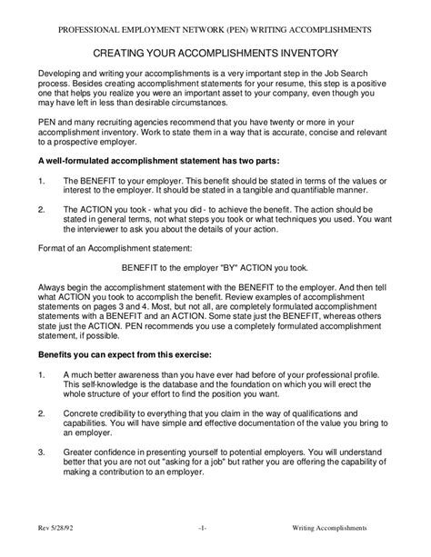accomplishment statements for resume sle resume accomplishment statements gallery 1000