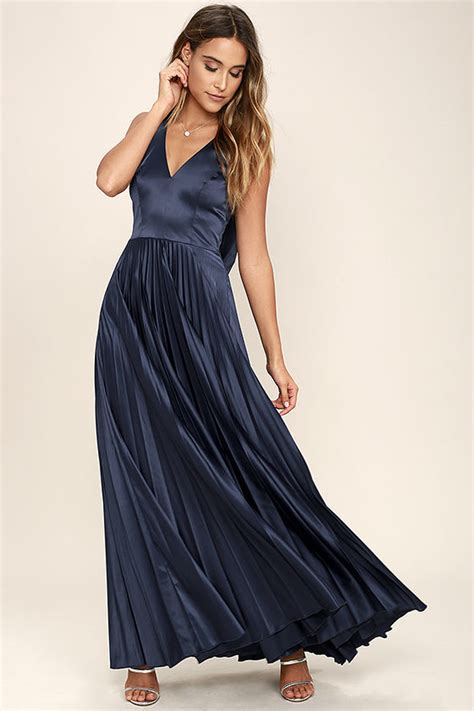 Saten Royal Silk Sale lovely navy blue dress formal maxi dress bridesmaid