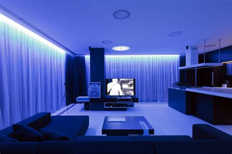 interior gleaming futuristic room with blue led lights also apartment interior by squareone design milk