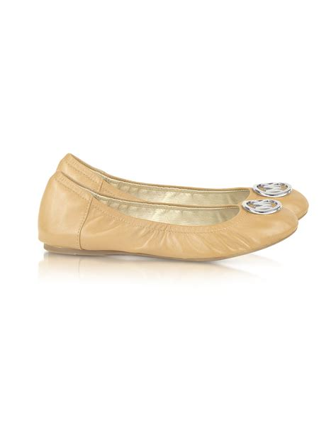 michael kors shoes fulton flats michael kors fulton ballet flat shoes in beige blush lyst