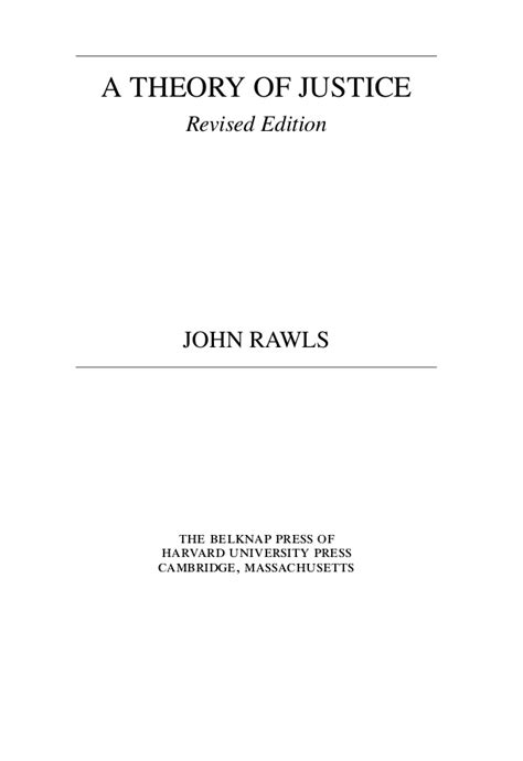 A Theory Of Justice a theory of justice revised edition rawls