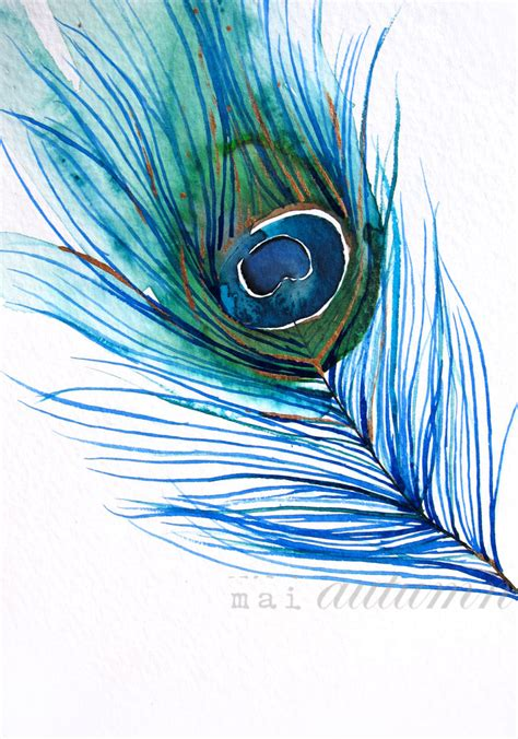 40 sale feather watercolor peacock feather i by maiautumn