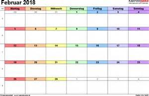 Kalender 2018 Februar Kalender Februar 2018 Als Excel Vorlagen