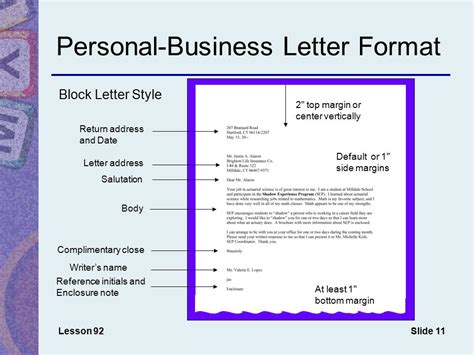 business letter format center vertically chapter 11 memos s and letters ppt