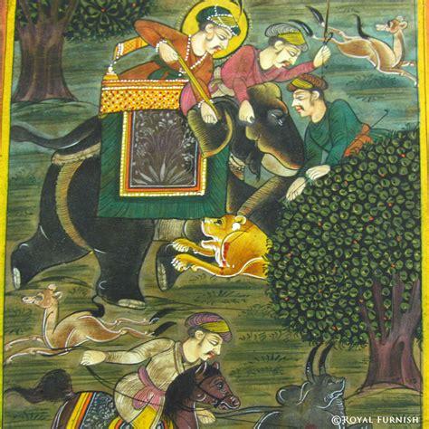 Zodiac Home Decor mughal hunting animal rajasthani miniature painting wall