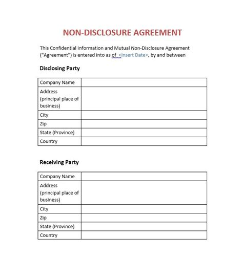 disclosure form template business