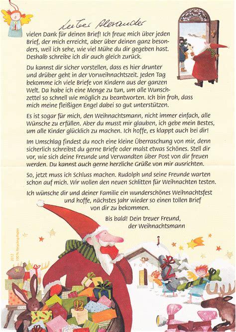 Weihnachtsbriefe Schreiben Muster Post Vom Weihnachtsmann