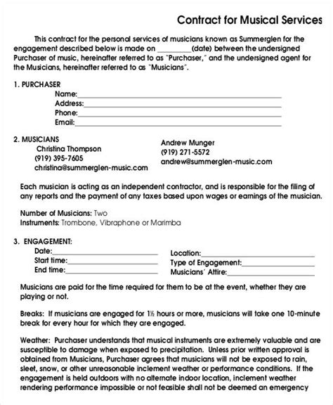 musicians contract template 17 contract templates word docs format