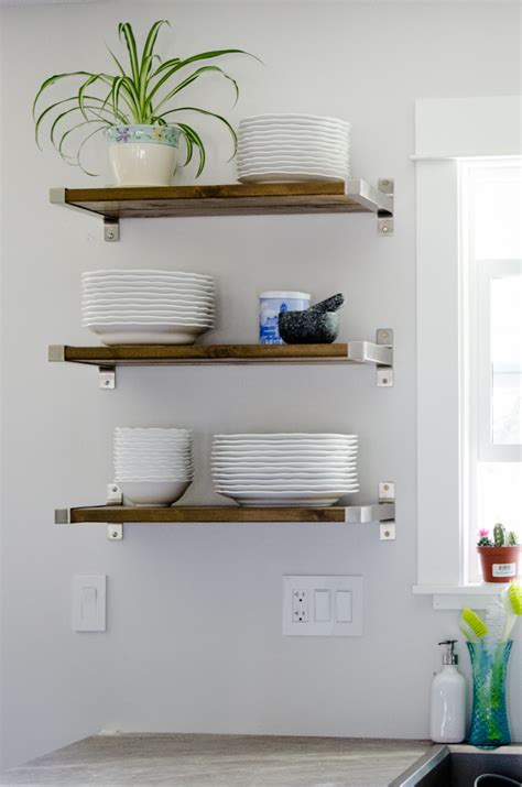kitchen wall shelving ideas diy open shelving for our kitchen lemon thistle