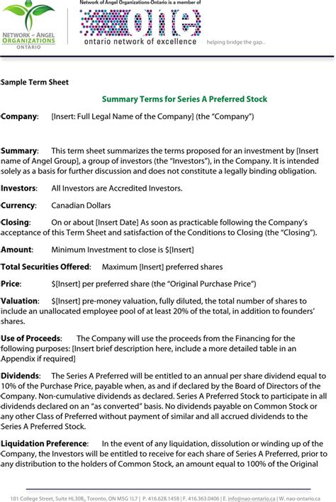 sle term sheet download free premium templates