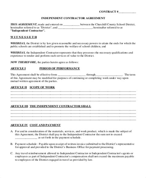 independent contract templates sample examples