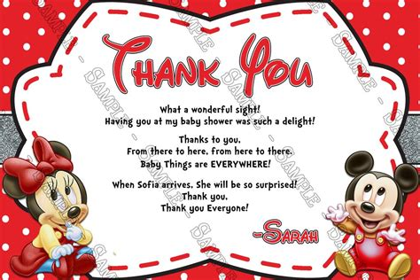 mickey mouse thank you card template novel concept designs baby mickey minnie mouse
