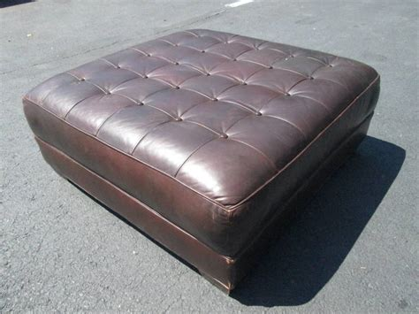 large tufted leather ottoman oversized leather tufted bench ottoman for sale at 1stdibs
