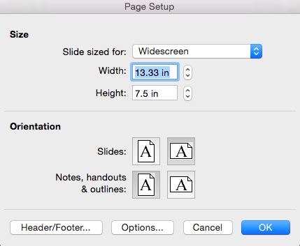 Page Setup Options In Powerpoint 2016 For Mac Powerpoint For Mac Powerpoint Template Page Size