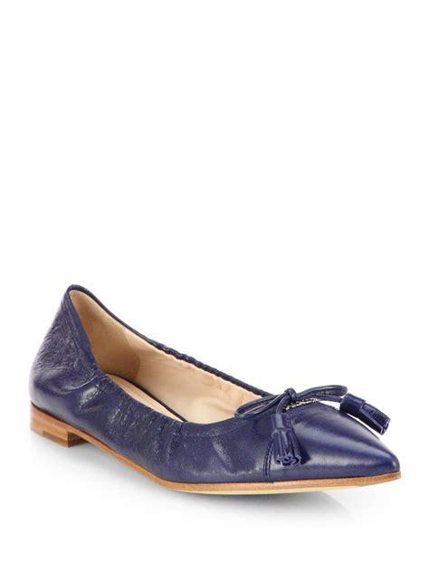 Prada Flats prada leather point toe tassel flats in blue bluette blue lyst