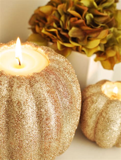 gold pumpkin centerpieces twig thistle 187 diy pumpkin candle holders for bhg