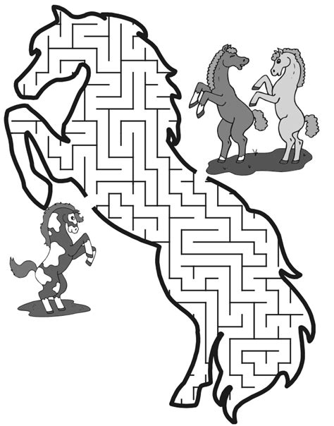 Printable Horse Maze | free coloring pages of horses mazes