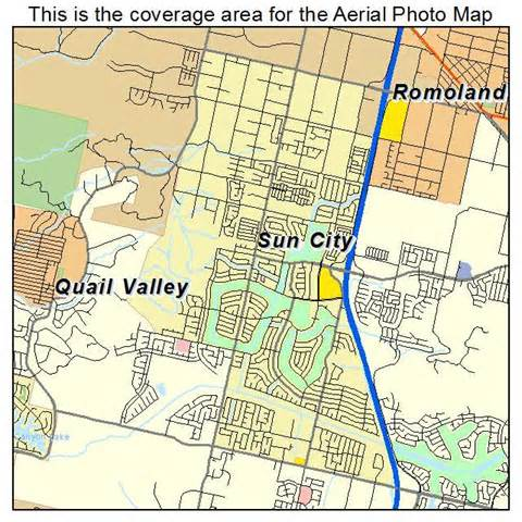 aerial photography map of sun city ca california