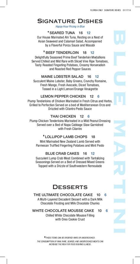 martini bar menu happy hour food menu at blue martini lounge