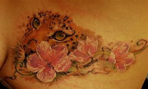 cheetah print tattoos with roses cheetah print tattoos with flowers